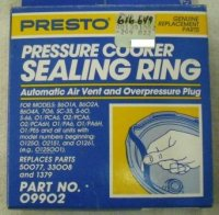Presto Sealing Ring, Air Vent, and Overpressure Plug #09902