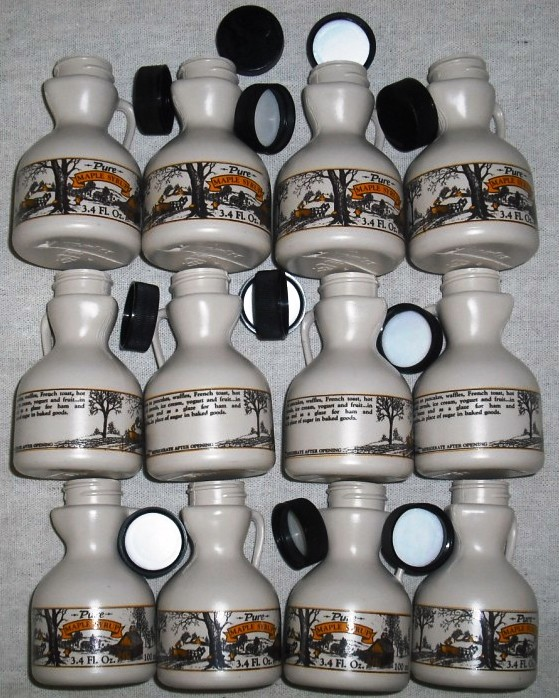12 Empty 3.4 oz. Plastic Maple Syrup Jugs