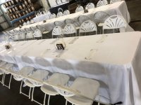 White Floor Length Table Linens for 8ft Banquet Tables